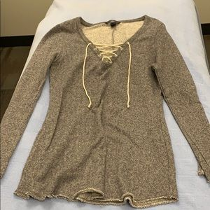 Long tie up front sweater